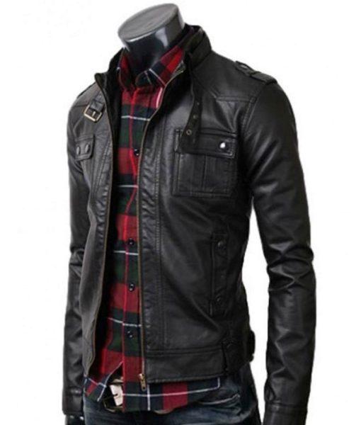 mens-strap-collar-slim-fit-black-leather-jacket