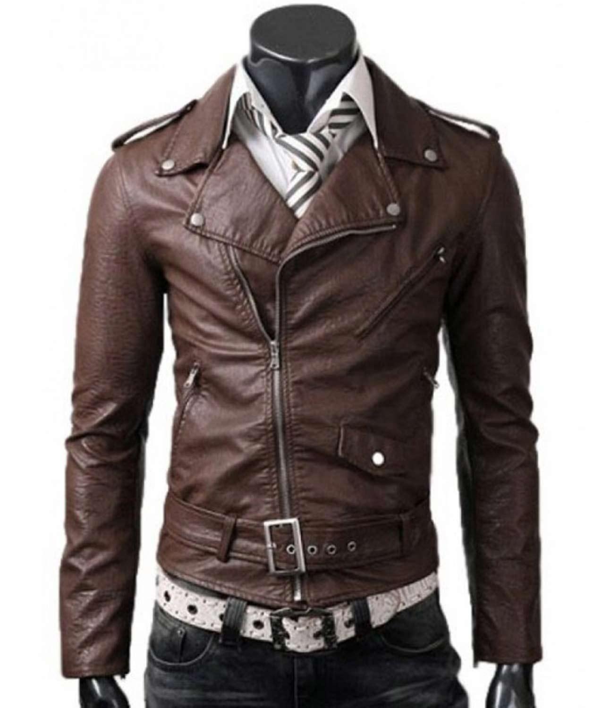 Mens Belted Asymmetrical Slim Fit Brown Leather Jacket ...