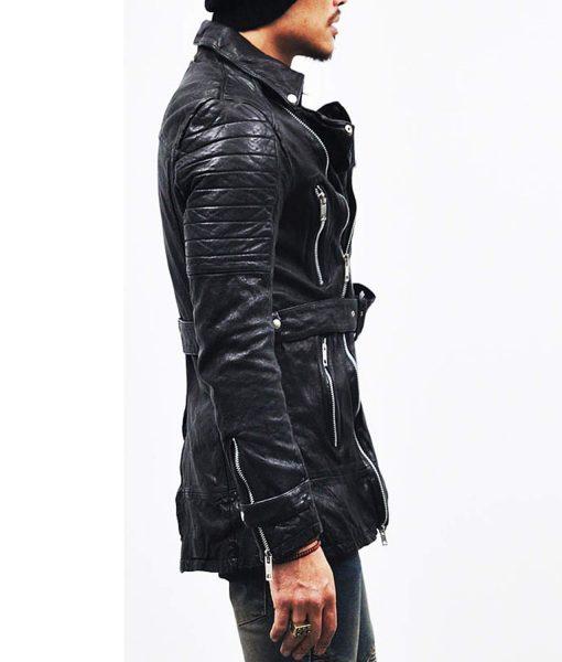 mens-black-belted-mid-length-leather-coat