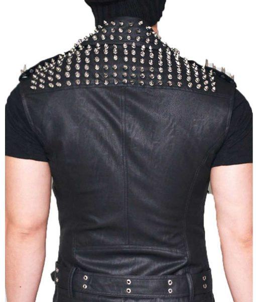 mens-black-studded-leather-vest