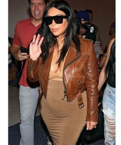 kim-kardashian-brown-leather-jacket