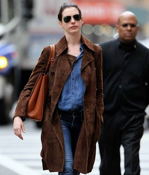 anne-hathaway-double-breasted-suede-brown-coat