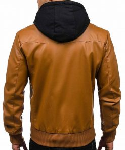 mens-causal-bomber-brown-leather-jacket-with-hoodie