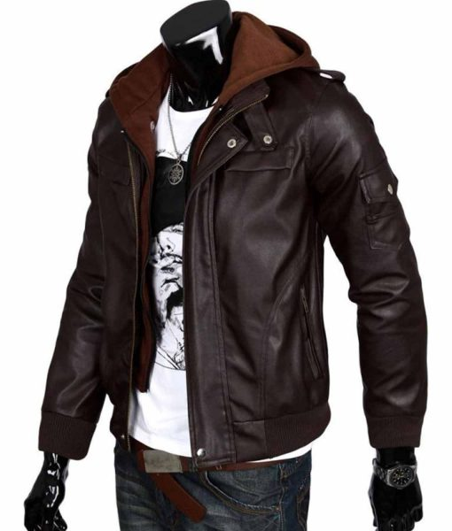 mens-slim-fit-chocolate-brown-leather-jacket-with-hoodie