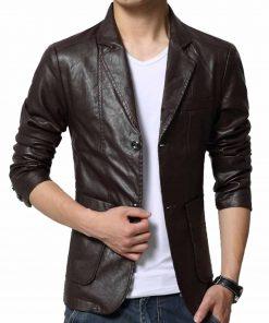 slim-fit-leather-blazer