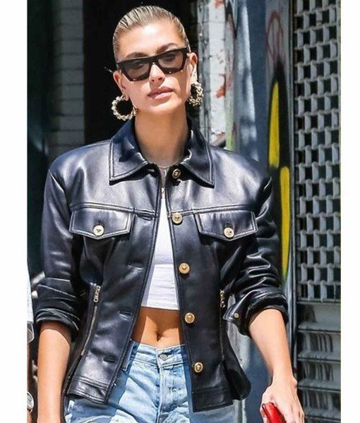 nyc-hailey-baldwin-black-leather-jacket