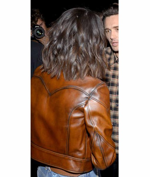 selena-gomez-antique-waxed-brown-leather-jacket