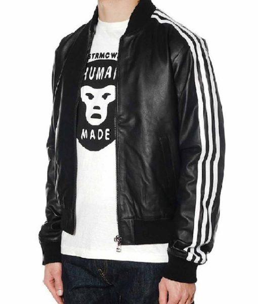 striped-design-black-leather-bomber-jacket