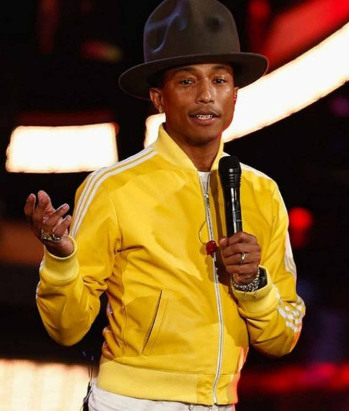 striped-pharrell-williams-yellow-leather-bomber-jacket