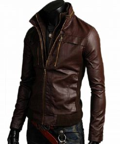 mens-slim-fit-double-collar-brown-leather-jacket
