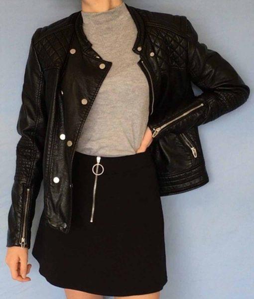 willa-holland-arrow-biker-thea-queen-black-leather-jacket