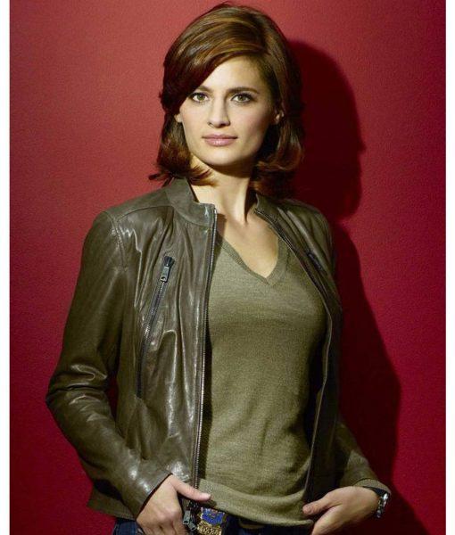 kate-beckett-green-leather-jacket
