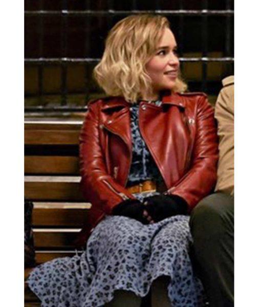 emilia-clarke-red-leather-jacket