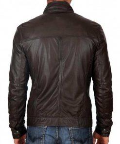 mens-casual-zipper-pockets-snap-tab-collar-dark-brown-leather-jacket