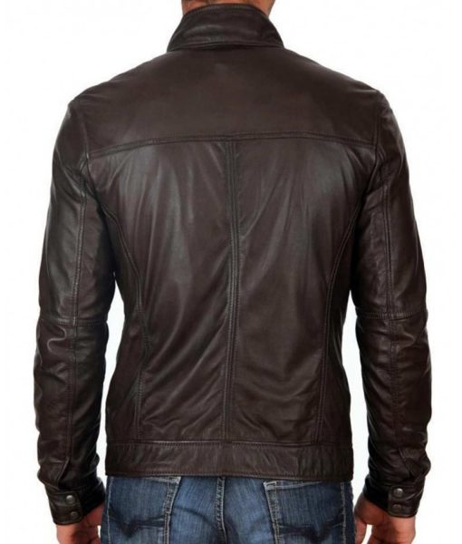 mens-casual-zipper-pockets-snap-tab-collar-dark-brown-leather-jacket
