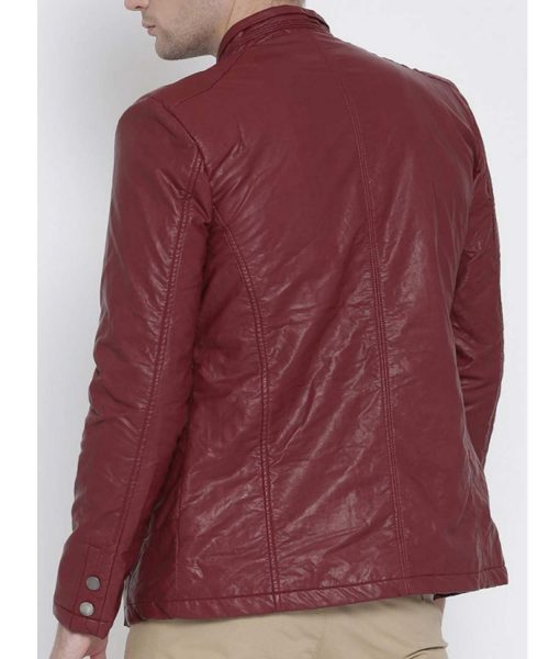 mens-maroon-faux-leather-jacket