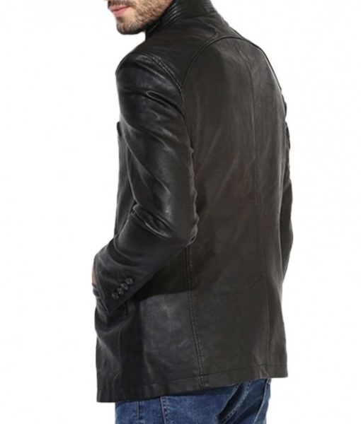 mens-stand-up-collar-black-leather-blazer