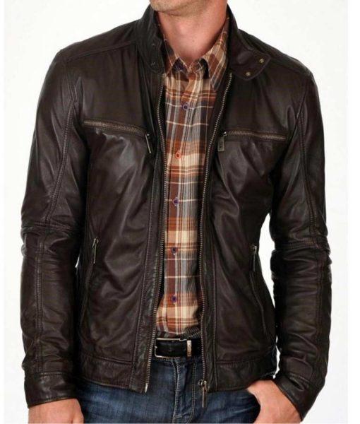 snap-tab-collar-dark-brown-leather-jacket