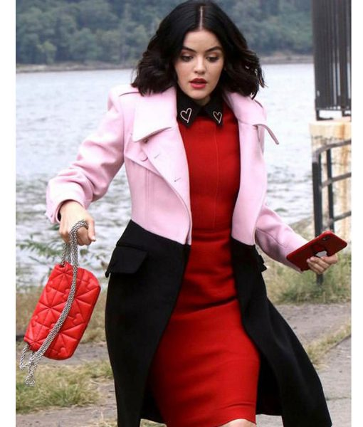 lucy-hale-katy-keene-black-and-pink-coat