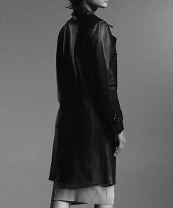 arrow-season-08-dinah-drake-dobule-breasted-leather-coat
