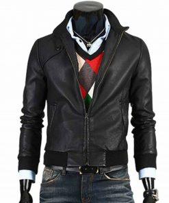 mens-bomber-slim-fit-black-leather-jacket