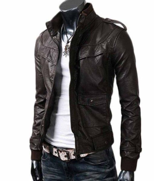 mens-designer-stand-collar-slim-fit-dark-brown-leather-jacket