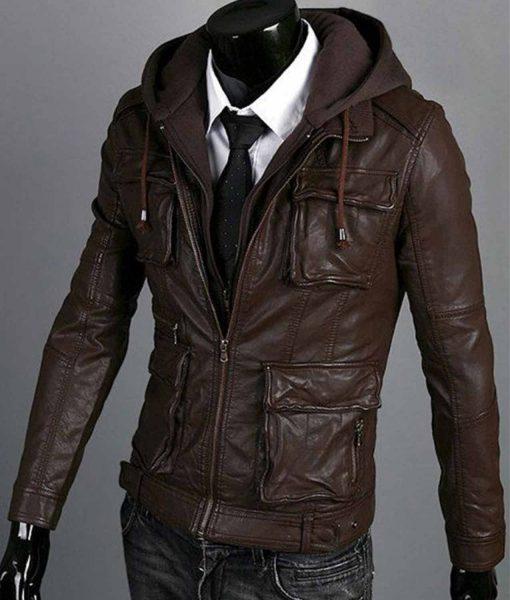 mens-slim-fit-brown-leather-jacket-with-hoodie