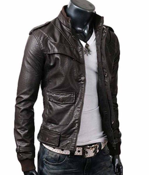mens-stand-collar-slim-fit-dark-brown-leather-jacket