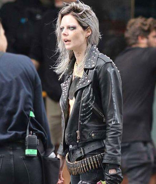 samara-weaving-guns-akimbo-nix-leather-jacket