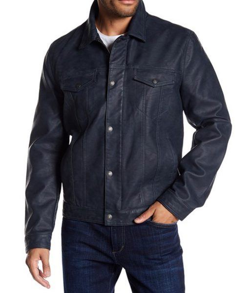 mens-classic-faux-blue-leather-trucker-jacket