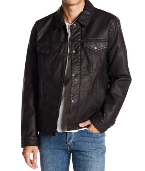 mens-faux-leather-trucker-jacket