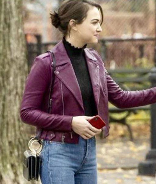 rachel-bay-god-friended-me-susan-leather-jacket