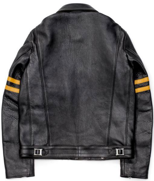 mens-black-leather-biker-yellow-striped-jacket