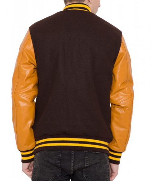 mens-casual-brown-and-gold-bomber-jacket