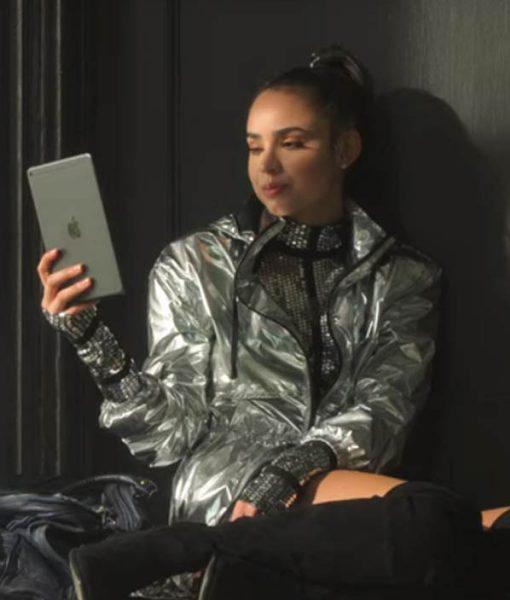 sofia-carson-feel-the-beat-april-silver-jacket