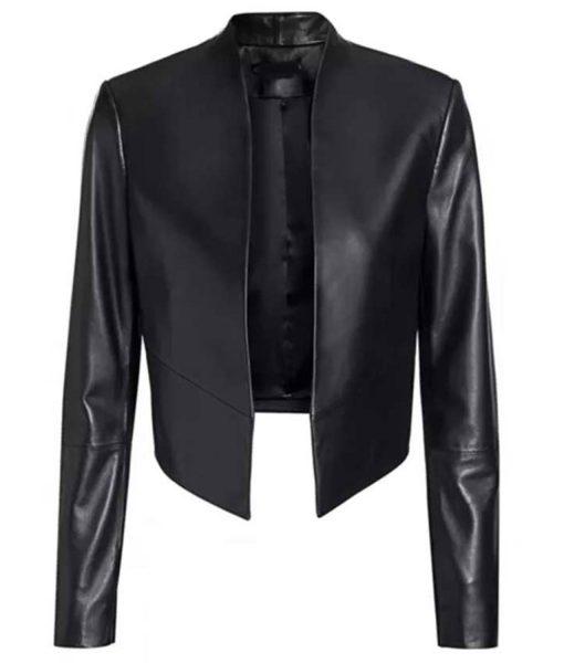lily-collins-paris-emily-cooper-leather-jacket