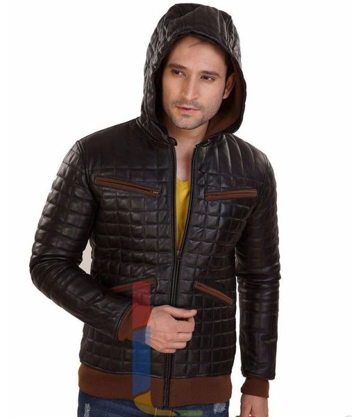 mens-brown-leather-hoodie