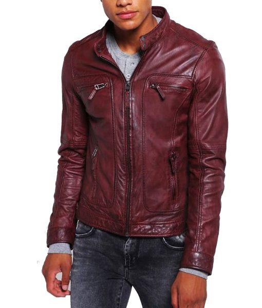 mens-burgundy-leather-biker-jacket