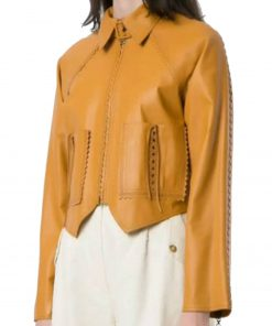 women-yellow-pointed-leather-jacket