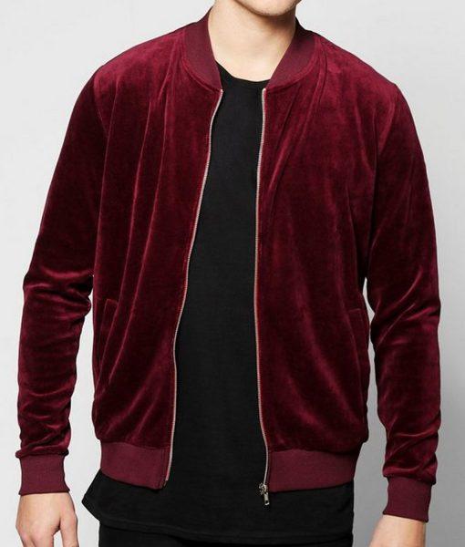 mens-velvet-burgundy-bomber-jacket