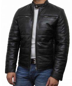 black-leather-puffer-jacket