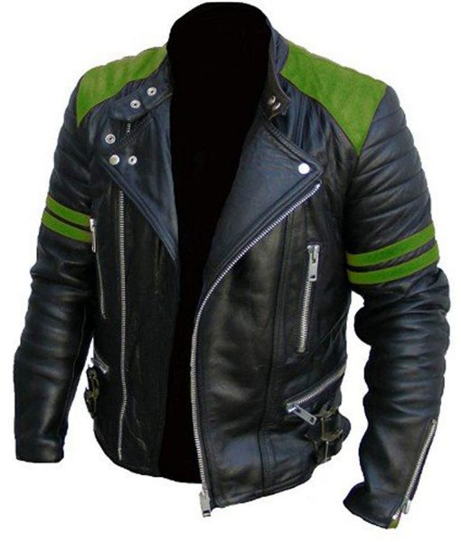 brando-black-and-green-leather-motorcycle-jacket