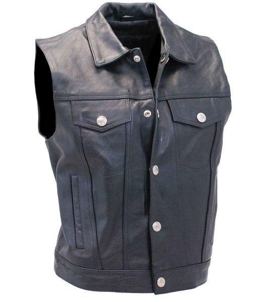denim-style-black-leather-vest