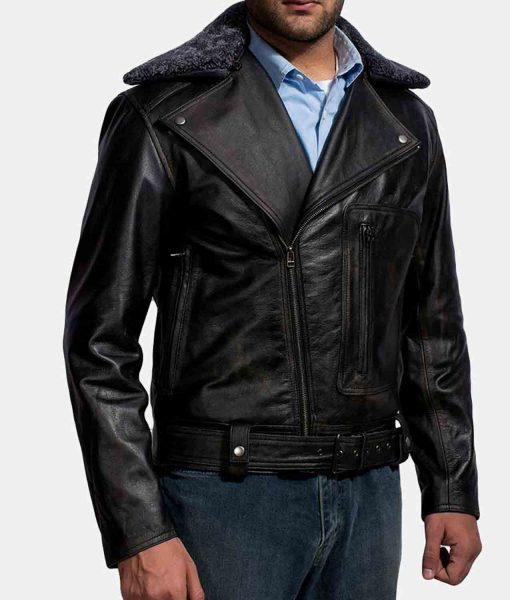 furton-black-fur-biker-jacket