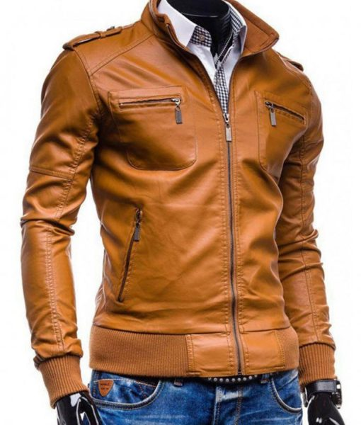 mens-slim-fit-tan-brown-faux-leather-jacket