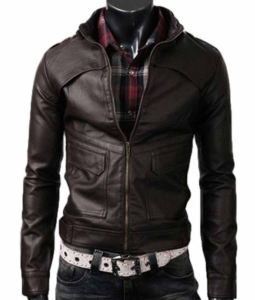 strap-collar-dark-brown-leather-jacket