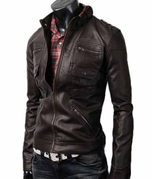zipper-pocket-brown-leather-jacket