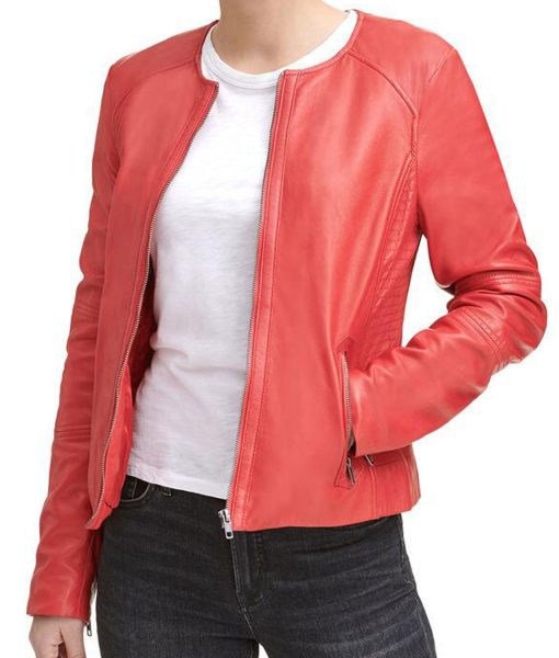 womens-collarless-red-jacket