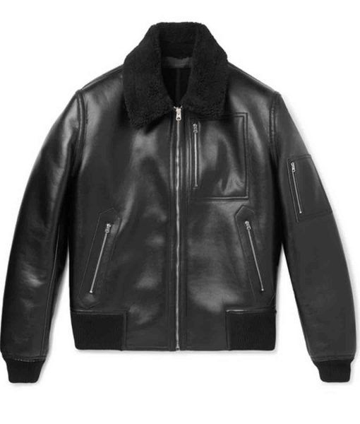 black-leather-bomber-jacket-with-fur-collar