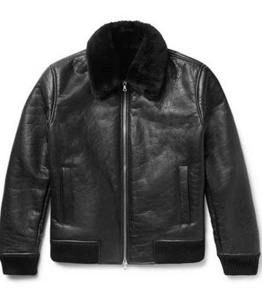 black-leather-shearling-jacket